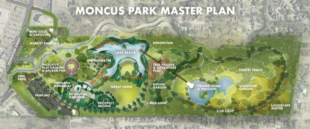 A layout of Moncus Park's master plan which includes features already built and several not yet built such as the pavilion and the veteran's memorial.